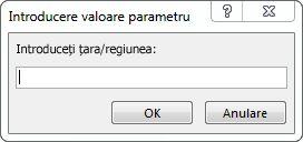 """O solicitare de parametri cu textul """"Introduceți țara/regiunea""""."""