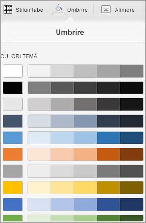 Opțiuni de umbrire iPad tabel