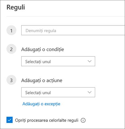 Crearea unei reguli noi în Outlook pe web
