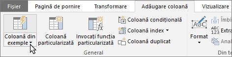 Afișează butonul Coloană din exemple din fila Editor interogare - Adăugare coloane