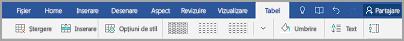 Meniul de tabel Windows Mobile