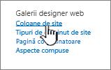 Opțiunea coloană de site de pe pagina Setări site