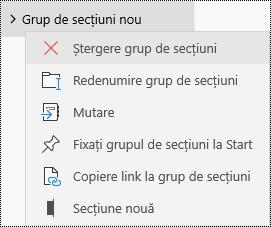 Ștergerea grupurilor de secțiuni în aplicația OneNote pentru Windows 10