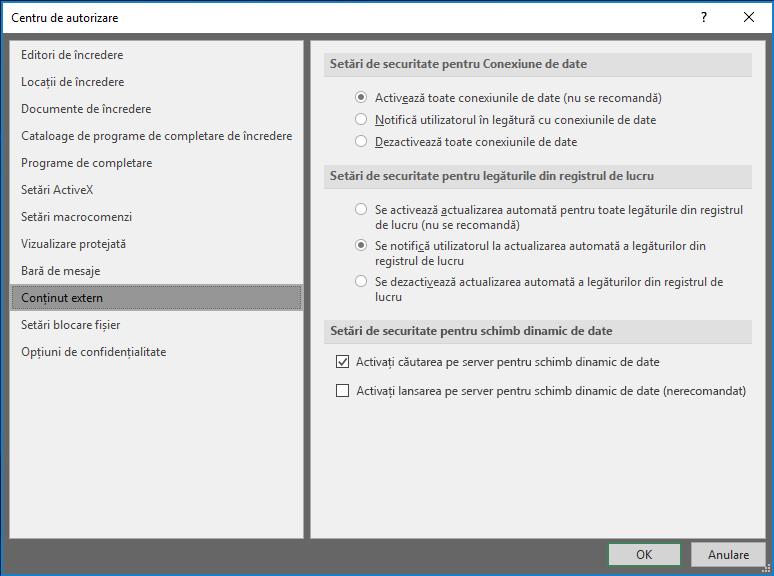 Setări de conținut extern din centrul de autorizare Excel