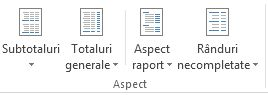 Opțiuni de aspect, în grupul aspect, pe fila proiectare
