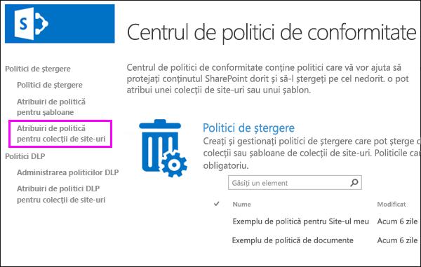 Politica atribuirile pentru colecții de site-ul link