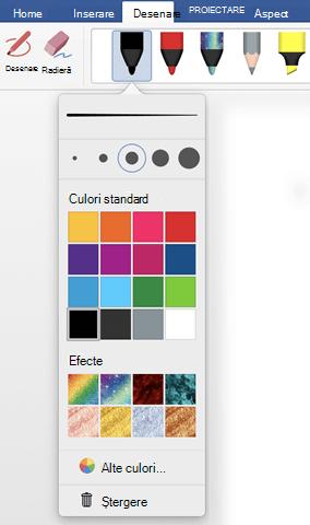 Opțiuni pentru culoare și grosime pentru un stilou din galeria de stilouri Office din fila Desenare