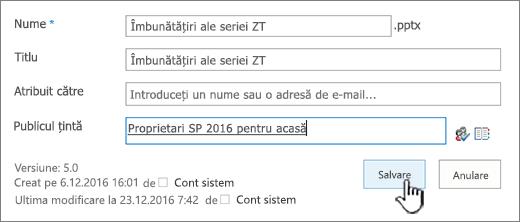 Proprietăți de document cu publicul țintă completate