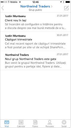 Vizualizarea conversație în aplicația mobilă Outlook