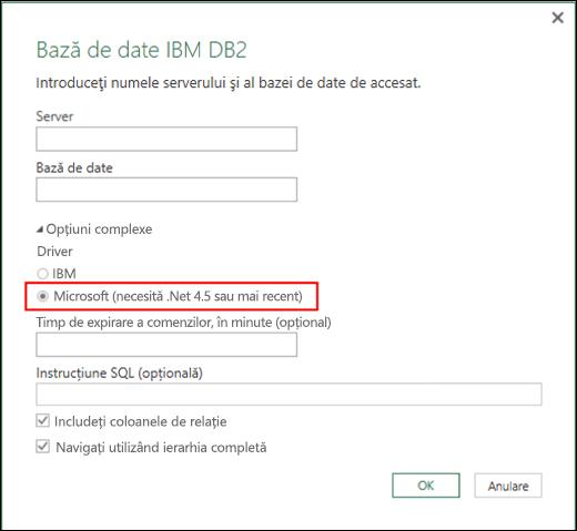 Caseta de dialog Conector bază de date IBM DB2 din Excel Power BI