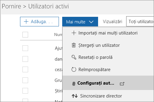 Meniul Mai multe din pagina Utilizatori activi, cu opțiunea Configurare Azure Multi-Factor Authentication selectată.