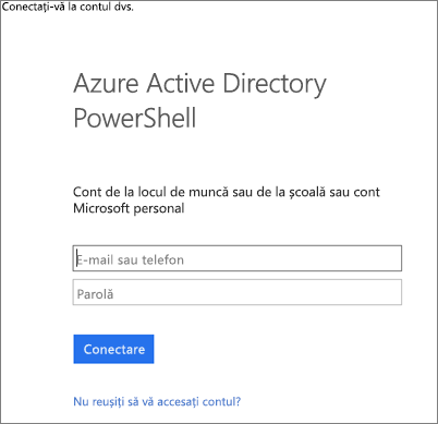 Introduceți acreditările dvs. de administrator Azure Active Directory