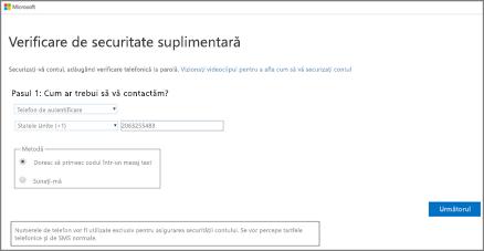 Alegeți metoda de autentificare și urmați instrucțiunile de pe ecran.
