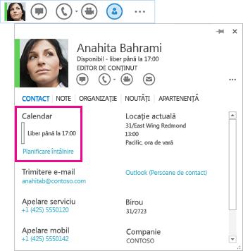 Captură de ecran a persoanei de contact QuickLync și a cărții de vizită cu calendar și programare întâlnire evidențiate