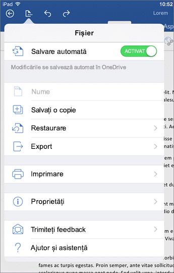 Din butonul fișier la un cuvânt pentru iOS vă permite să imprimați, salvarea, trimiteți feedback și multe altele.