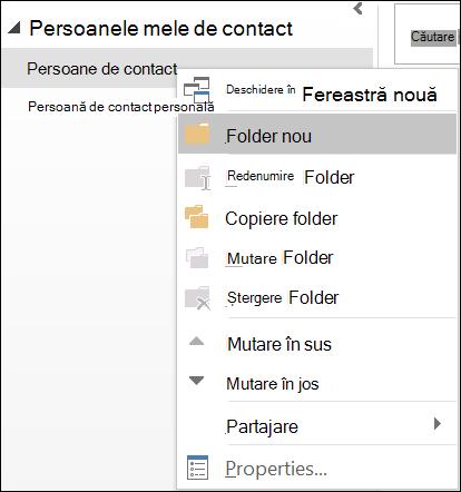 Creați un folder nou de persoane de contact.