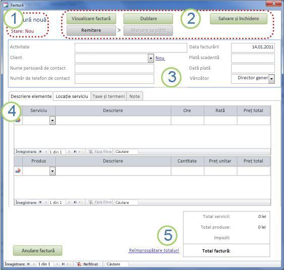 Formularul Detalii factură
