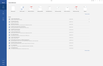 Pagina de pornire nouă din Word pentru Office 365