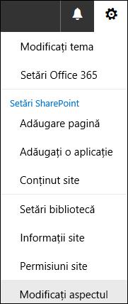 Captură de ecran afișând opțiunea de meniu Modificați aspectul din SharePoint.