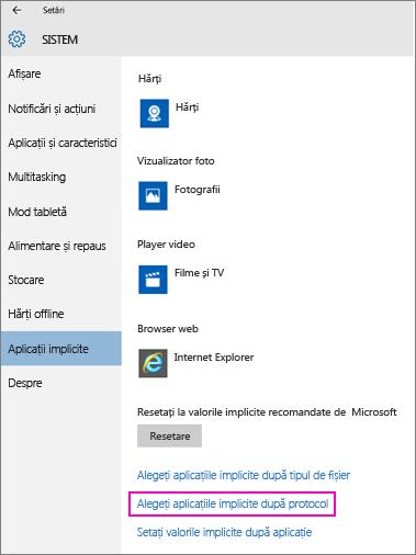 Captură de ecran cu setarea Setați valorile implicite după aplicație din Windows 10.