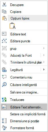 Meniul text alternativ editare PowerPoint pentru forme