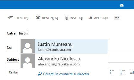Listă Completare automată Outlook Web App