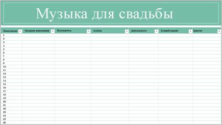 Схематичное изображение таблицы со списком музыки