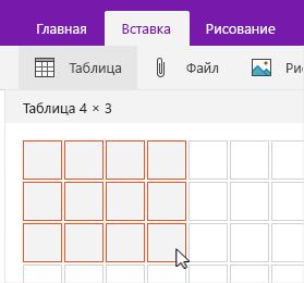 Команда вставки таблицы с сеткой рисования таблицы