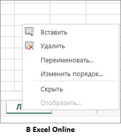 отсутствует возможность копирования при щелчке правой кнопкой мыши ярлычка листа.