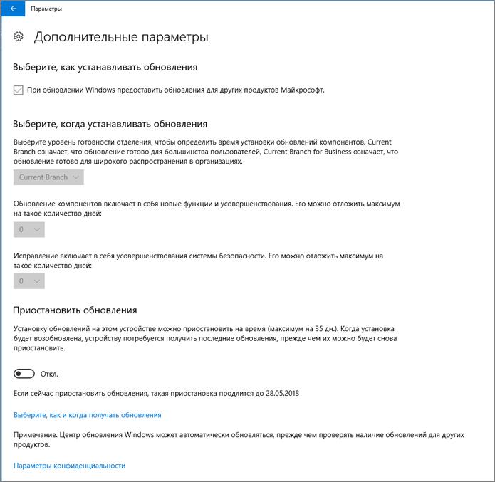 Дополнительные параметры обновления Windows затенены.