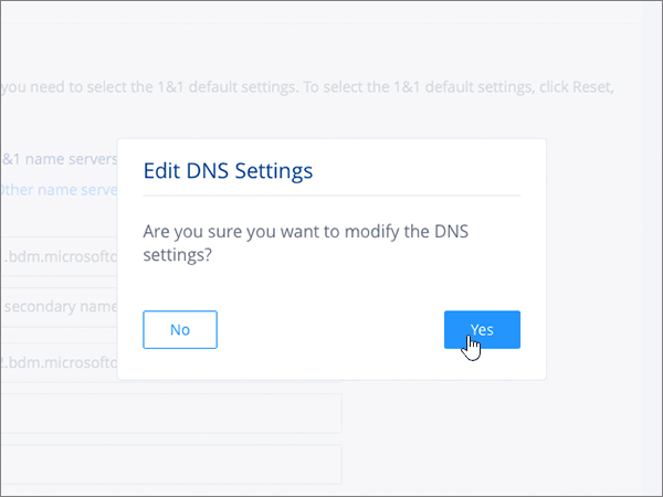 Нажмите кнопку Сохранить в диалоговом окне Изменение параметров DNS