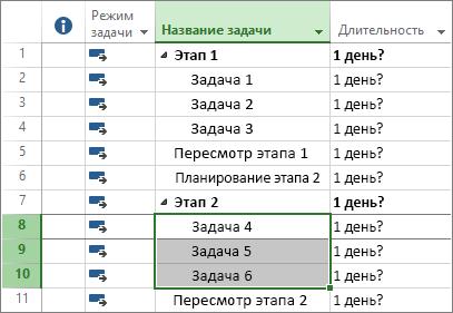 Снимок экрана: структурированные задачи в плане проекта