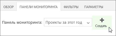 """Кнопка """"Создать"""" на вкладке панелей мониторинга"""