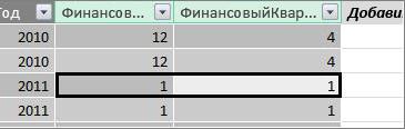 "Столбец ""Финансовый квартал"""