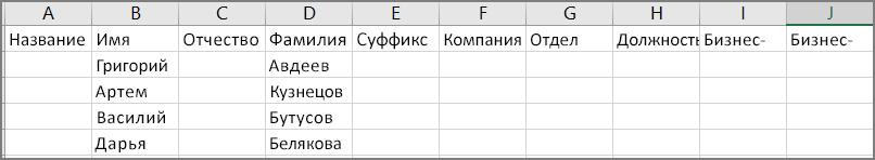 Например, так выглядит CSV-файл после экспорта контактов из Outlook