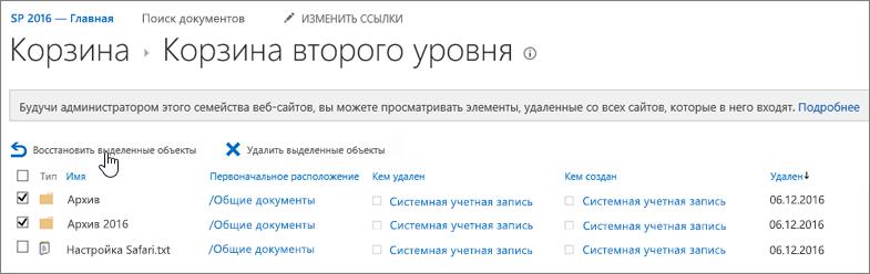 Корзина SharePoint 2-го уровня с выделенной кнопкой восстановления