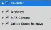 Список категорий календаря