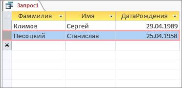 Условия запроса возвращают данные о сотрудниках, дни рождения у которых в текущем месяце