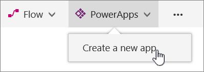Элемент меню PowerApps на панели команд с выделенной командой для создания приложения