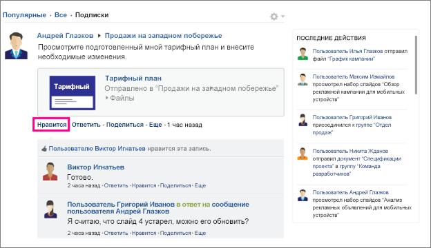"Команда ""Нравится"""