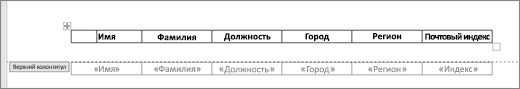 Заголовок таблицы внутри верхнего колонтитула, таблица в тексте