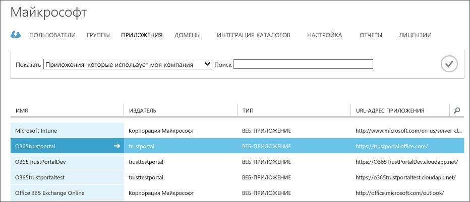 """Список приложений Azure AD с выделенным меню """"Доверие службы"""" (O365trustportal)."""