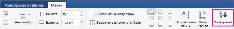 """Вкладка """"Макет таблицы"""" с выделенным параметром """"Сортировка""""."""