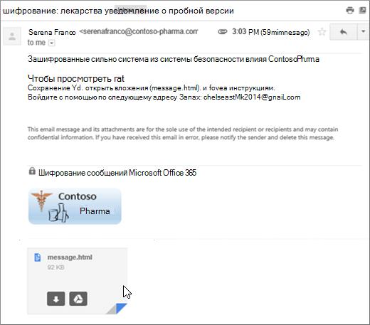 Открытие вложения message.html
