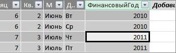 "Столбец ""Финансовый год"""