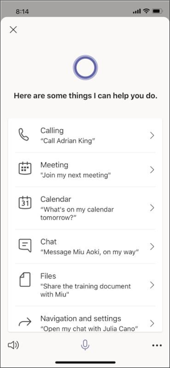 Кортана — запросы — снимок экрана для мобильных устройств