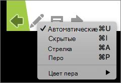 Снимок экрана показаны параметры, доступные для указателя, используемые во время показа слайдов. Доступные варианты: автоматическое, скрытые, стрелка, перо и цвет пера.