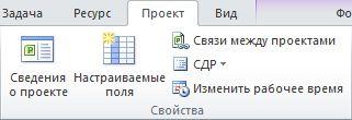 """Группа """"Свойства"""" на вкладке """"Проект"""""""