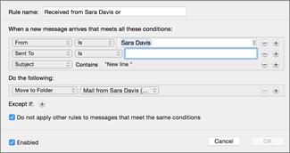 Создание правила на основе существующего сообщения электронной почты