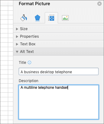 """Снимок экрана: раздел """"Замещающий текст"""" области """"Формат рисунка"""", в котором описано выбранное изображение"""